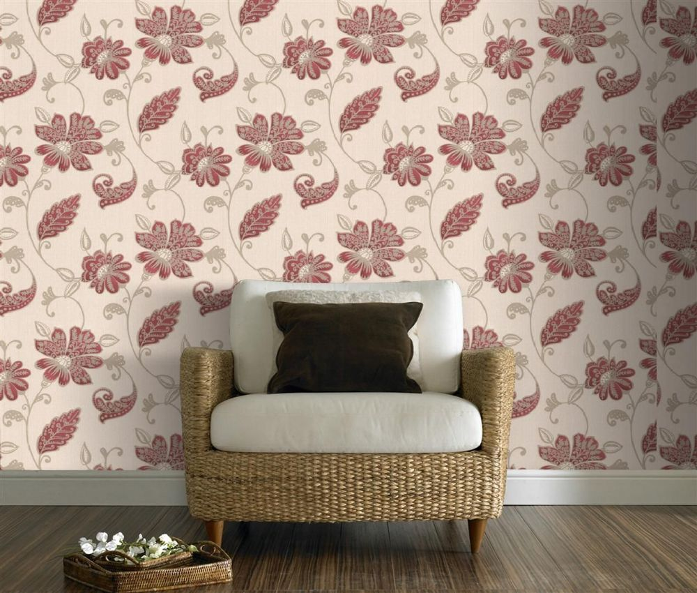Graham and Brown Premier Juliet Red 19513 Wallpaper